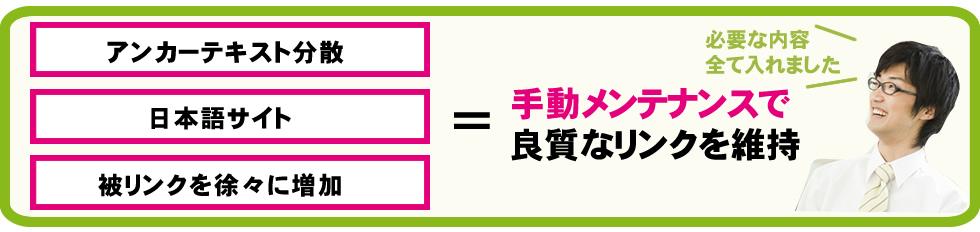 アンカーテキスト分散、日本語サイト、被リンクを徐々に増加、手動メンテナンスで良質なリンクを維持